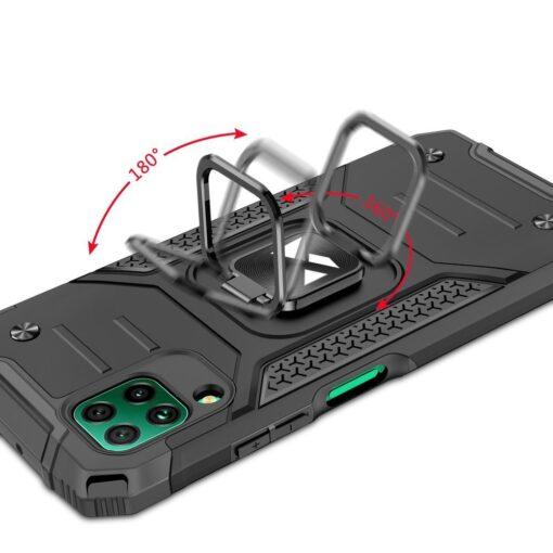 Huawei P40 Lite tugev umbris Ring Armor plastikust taguse ja silikoonist nurkadega must 4