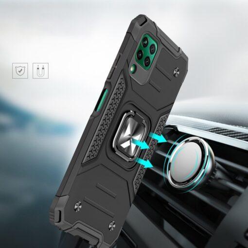 Huawei P40 Lite tugev umbris Ring Armor plastikust taguse ja silikoonist nurkadega must 5