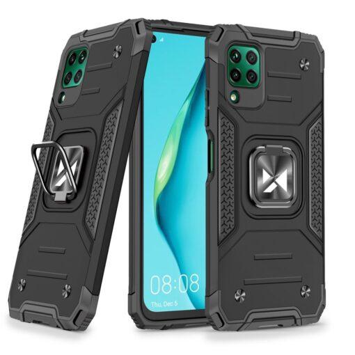 Huawei P40 Lite tugev umbris Ring Armor plastikust taguse ja silikoonist nurkadega must