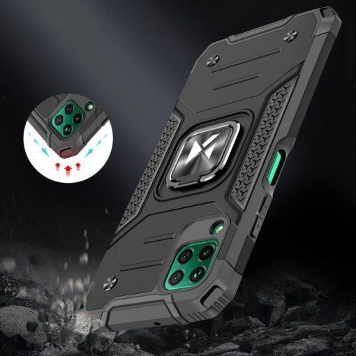 Huawei P40 Lite tugev umbris Ring Armor plastikust taguse ja silikoonist nurkadega must 6
