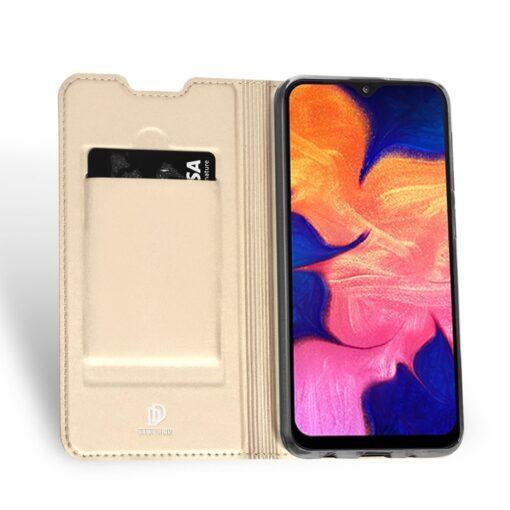 Samsung A10 kunstnahast kaaned DUX DUCIS Skin Pro Bookcase kuldne 2