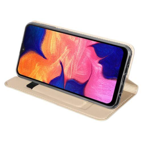 Samsung A10 kunstnahast kaaned DUX DUCIS Skin Pro Bookcase kuldne 4