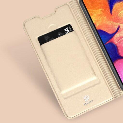 Samsung A10 kunstnahast kaaned DUX DUCIS Skin Pro Bookcase kuldne 8