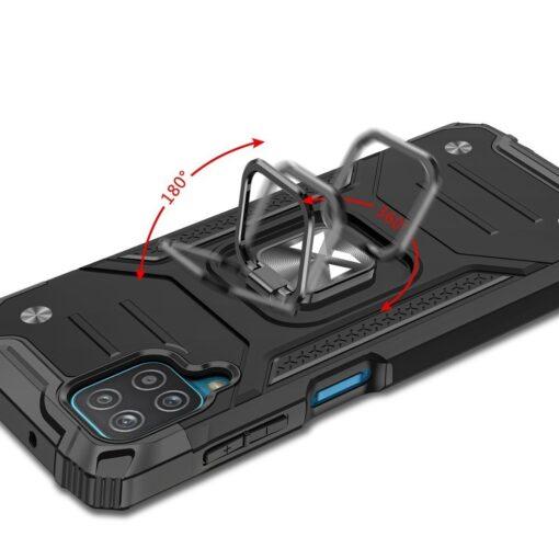 Samsung A12 tugev umbris Ring Armor plastikust taguse ja silikoonist nurkadega must 3