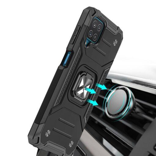Samsung A12 tugev umbris Ring Armor plastikust taguse ja silikoonist nurkadega must 4