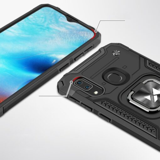 Samsung A20e tugev umbris Ring Armor plastikust taguse ja silikoonist nurkadega must 1