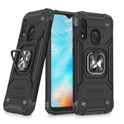 Samsung A20e tugev umbris Ring Armor plastikust taguse ja silikoonist nurkadega must
