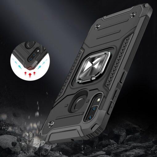 Samsung A20e tugev umbris Ring Armor plastikust taguse ja silikoonist nurkadega must 6