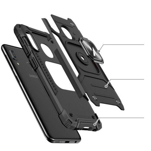 Samsung A20e tugev umbris Ring Armor plastikust taguse ja silikoonist nurkadega roosa 2
