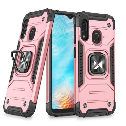Samsung A20e tugev umbris Ring Armor plastikust taguse ja silikoonist nurkadega roosa
