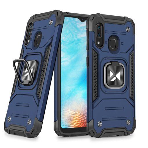 Samsung A20e tugev umbris Ring Armor plastikust taguse ja silikoonist nurkadega sinine