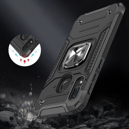 Samsung A20e tugev umbris Ring Armor plastikust taguse ja silikoonist nurkadega sinine 6