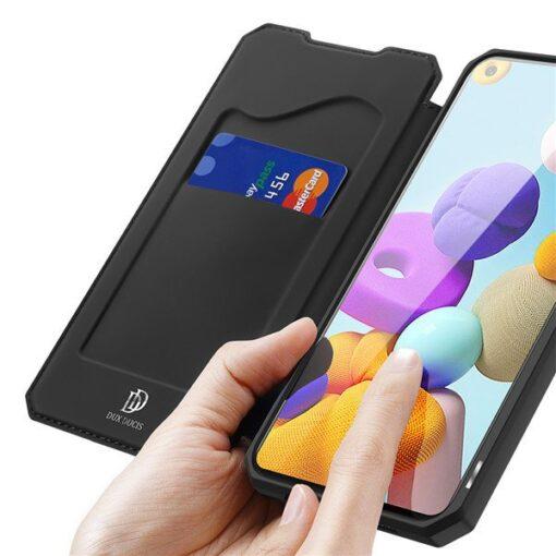 Samsung A21S kunstnahast kaaned kaarditaskuga DUX DUCIS Skin X must 1