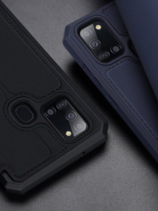 Samsung A21S kunstnahast kaaned kaarditaskuga DUX DUCIS Skin X must 10