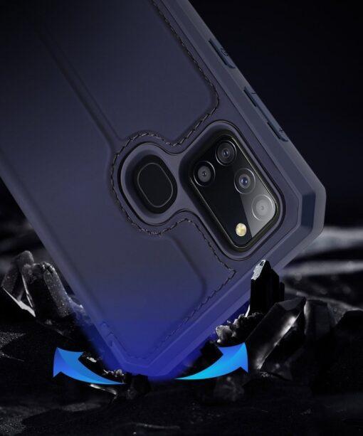 Samsung A21S kunstnahast kaaned kaarditaskuga DUX DUCIS Skin X must 3