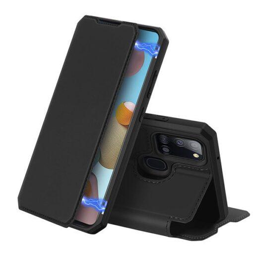 Samsung A21S kunstnahast kaaned kaarditaskuga DUX DUCIS Skin X must