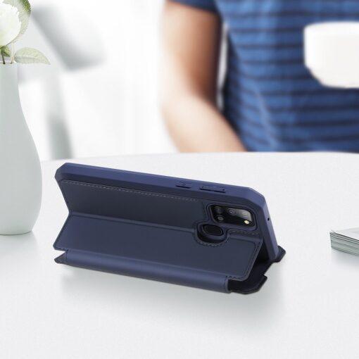 Samsung A21S kunstnahast kaaned kaarditaskuga DUX DUCIS Skin X must 8