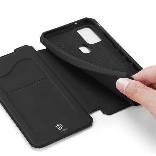 Samsung A21S kunstnahast kaaned kaarditaskuga DUX DUCIS Skin X must 9