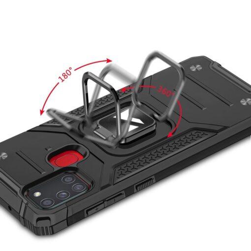 Samsung A21S tugev umbris Ring Armor plastikust taguse ja silikoonist nurkadega must 4