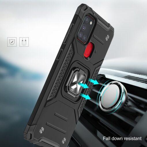 Samsung A21S tugev umbris Ring Armor plastikust taguse ja silikoonist nurkadega must 6
