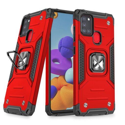 Samsung A21S tugev umbris Ring Armor plastikust taguse ja silikoonist nurkadega punane