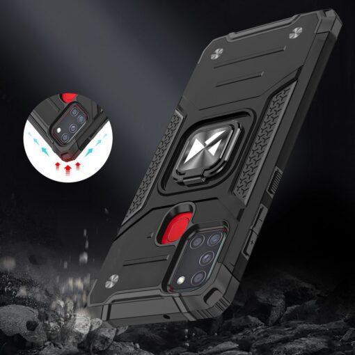Samsung A21S tugev umbris Ring Armor plastikust taguse ja silikoonist nurkadega punane 6
