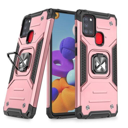 Samsung A21S tugev umbris Ring Armor plastikust taguse ja silikoonist nurkadega roosa