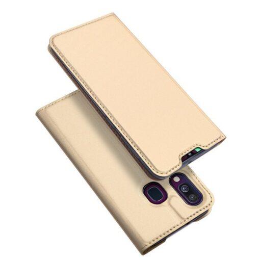 Samsung A40 kunstnahast kaaned DUX DUCIS Skin Pro Bookcase kuldne