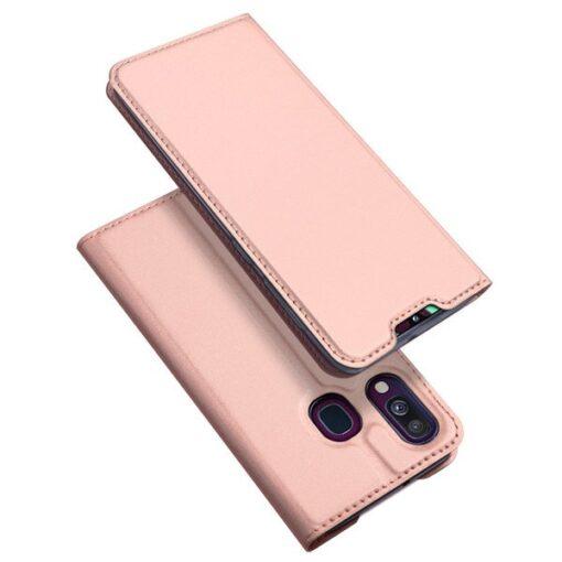 Samsung A40 kunstnahast kaaned DUX DUCIS Skin Pro Bookcase roosa
