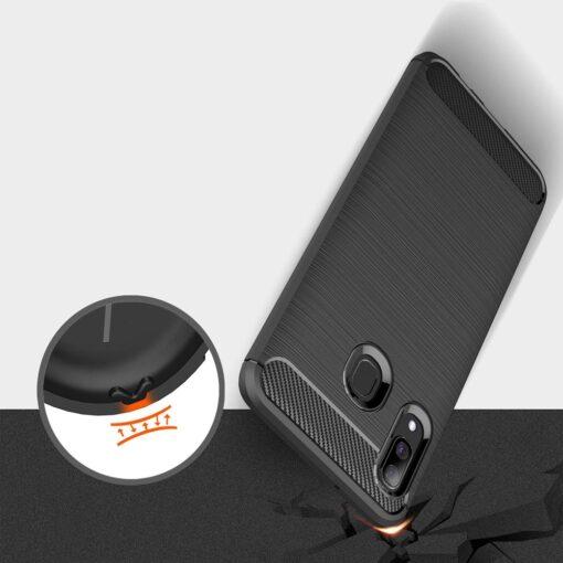 Samsung A40 umbris silikoonist Carbon must 5