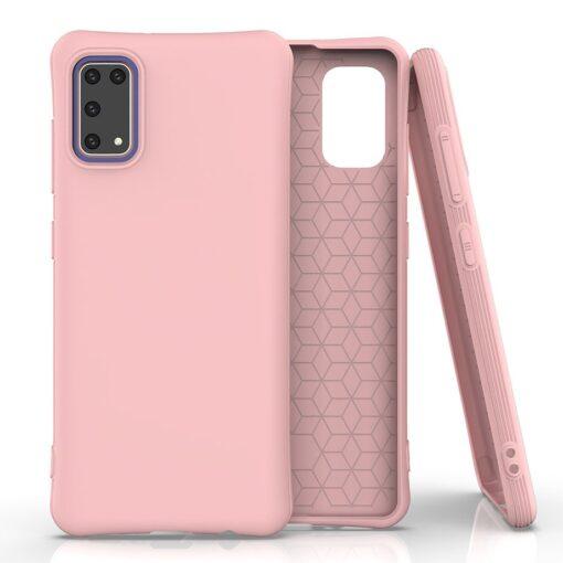 Samsung A41 tugevdatud nurkadega silikoonist umbris roosa