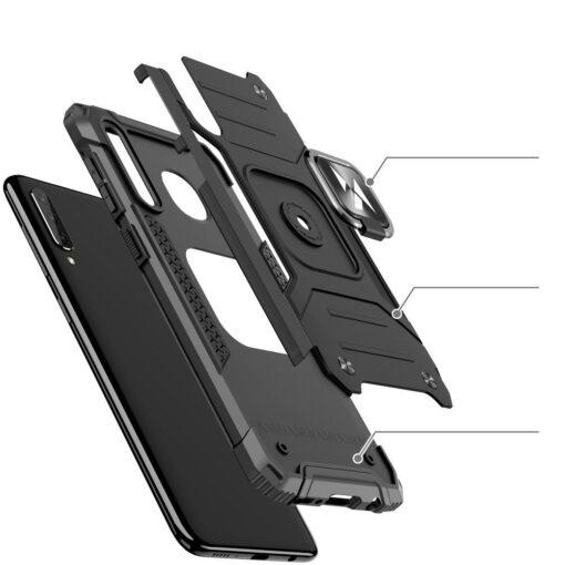 Samsung A50 tugev umbris Ring Armor plastikust taguse ja silikoonist nurkadega must 2