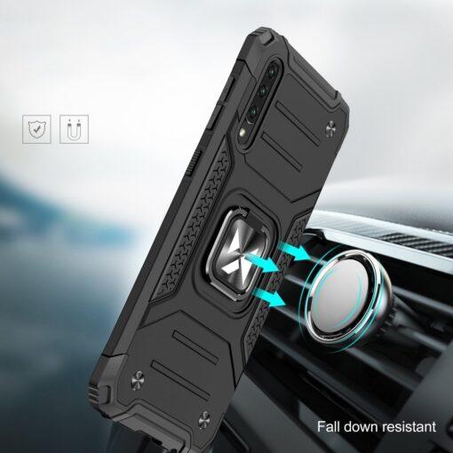 Samsung A50 tugev umbris Ring Armor plastikust taguse ja silikoonist nurkadega must 5