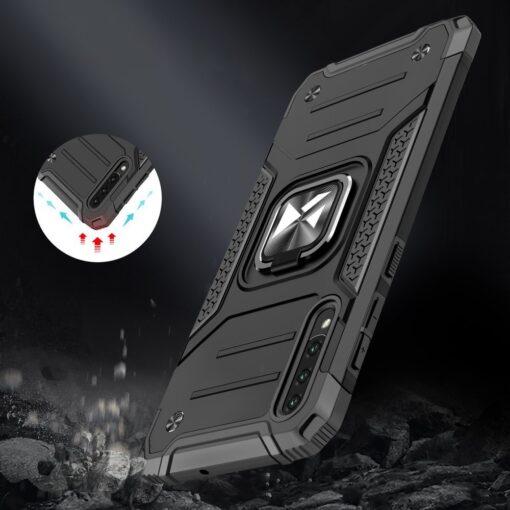 Samsung A50 tugev umbris Ring Armor plastikust taguse ja silikoonist nurkadega must 6