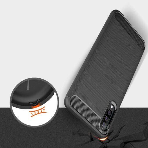 Samsung A50 umbris silikoonist Carbon must 5