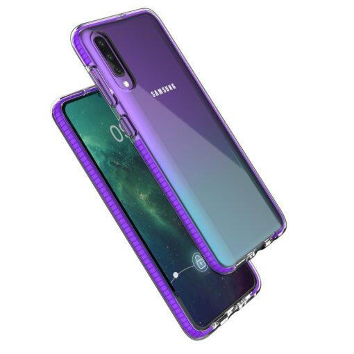 Samsung A50 umbris silikoonist varvilise raamiga roosa 1