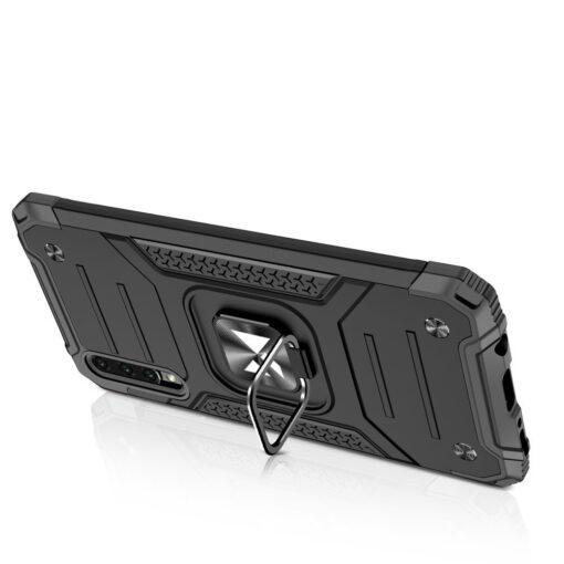 Samsung A51 tugev umbris Ring Armor plastikust taguse ja silikoonist nurkadega must 3