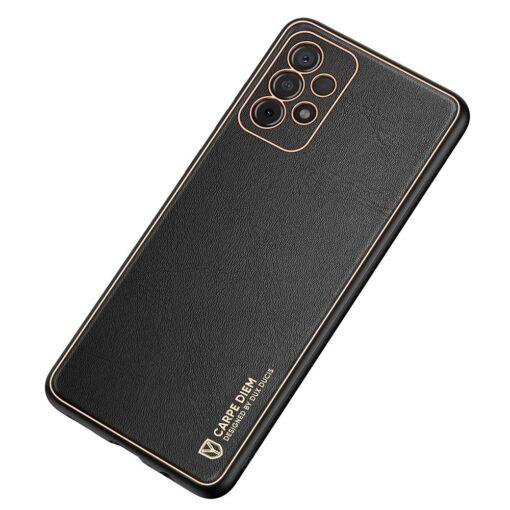 Samsung A52 umbris Dux Ducis Yolo elegant kunstnahast ja silikoonist servadega must 1
