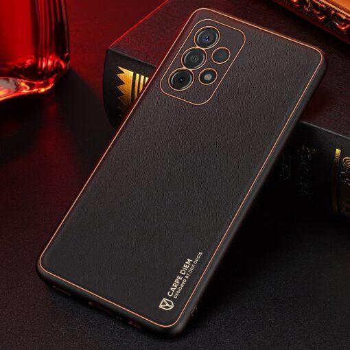 Samsung A52 umbris Dux Ducis Yolo elegant kunstnahast ja silikoonist servadega must 12