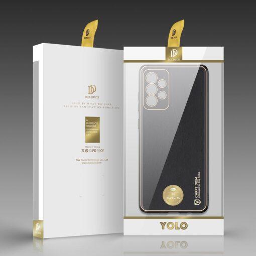 Samsung A52 umbris Dux Ducis Yolo elegant kunstnahast ja silikoonist servadega must 4