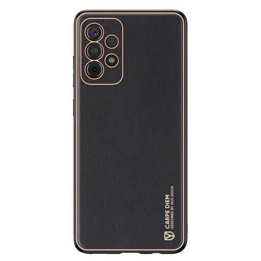 Samsung A52 umbris Dux Ducis Yolo elegant kunstnahast ja silikoonist servadega must 6