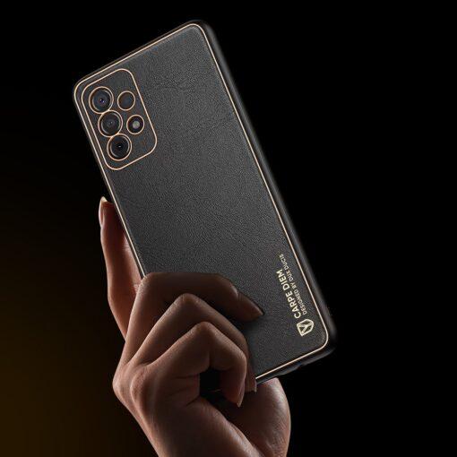 Samsung A52 umbris Dux Ducis Yolo elegant kunstnahast ja silikoonist servadega must 8