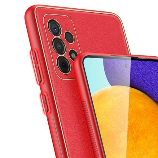 Samsung A52 umbris Dux Ducis Yolo elegant kunstnahast ja silikoonist servadega punane 3