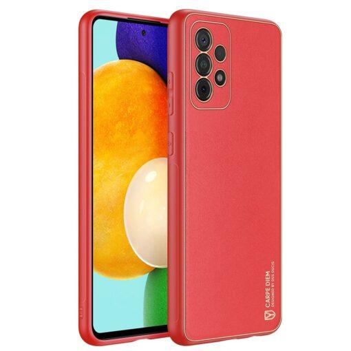 Samsung A52 umbris Dux Ducis Yolo elegant kunstnahast ja silikoonist servadega punane
