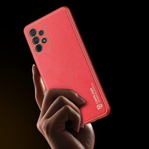 Samsung A52 umbris Dux Ducis Yolo elegant kunstnahast ja silikoonist servadega punane 8