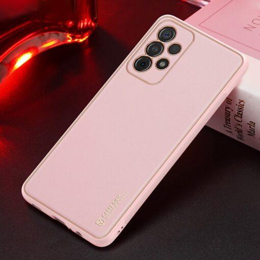 Samsung A52 umbris Dux Ducis Yolo elegant kunstnahast ja silikoonist servadega roosa 12