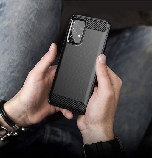 Samsung A52 umbris silikoonist Carbon must 4