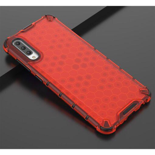 Samsung A70 plastikust kargstruktuuri ja silikoonist raamiga umbris punane 10