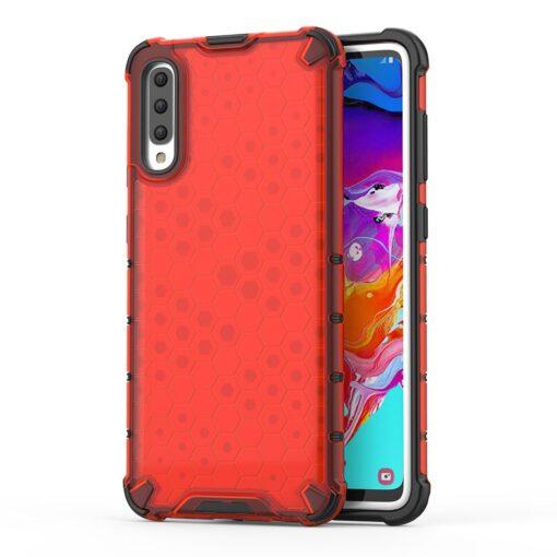 Samsung A70 plastikust kargstruktuuri ja silikoonist raamiga umbris punane