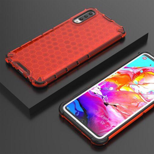 Samsung A70 plastikust kargstruktuuri ja silikoonist raamiga umbris punane 9